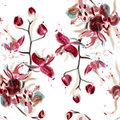 Vector Floral Seamless Pattern With Orchid Flowers Painted In Wa Royalty Free Stock Images - 60609839