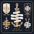 Vintage Nautical Anchor And Ribbon Labels Set On Dark Background Royalty Free Stock Image - 60626496