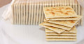 Stack Of Crispy Salted Crackers On A Plate To Be Enjoyed Plain Or With A Topping Royalty Free Stock Photography - 60630937