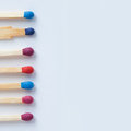 Wooden Colorful Matchsticks. Red, Violet, Blue Matches Stock Photos - 60635863