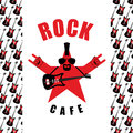 Rock Cafe. Logo Template For Music Rock Bar.  Royalty Free Stock Image - 60655646