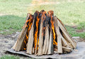 Wood Logs In Fire, Outdoor Fire For Barbecue, Colored Flames, Close Up. Stock Image - 60657661