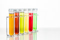 Test Tubes With Multi Color Chemicals Isolated In White Royalty Free Stock Photography - 60657777