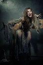 Halloween. The Middle Ages. Furious Wicked Witch. Royalty Free Stock Photos - 60665448