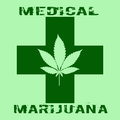 Cannabis Leaf In Abstract Style With Green Cross And Words Medical Marijuana Royalty Free Stock Photos - 60674908