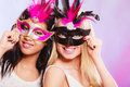 Two Women With Carnival Venetian Masks Royalty Free Stock Photos - 60688408