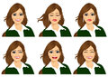 Set Of Female Avatar Expressions Royalty Free Stock Photography - 60698827