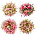 Top View Of Four Colorful Flower Bouquets Stock Images - 60713774