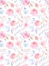 Watercolor Flowers. Seamless Pattern. Cute Roses Stock Images - 60714364