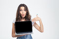 Woman Pointing Finger On Blank Laptop Computer Screen Stock Image - 60720871