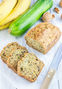 Loaf Of Homemade Banana Zucchini Bread With Walnuts Stock Images - 60722394