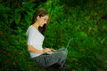 Beautiful Young Girl Using Laptop Outdoors In The Royalty Free Stock Images - 60748389