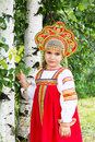 Little Girl In Russian National A Sundress Royalty Free Stock Photography - 60754237