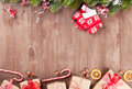 Christmas Background With Fir Tree And Gift Boxes Stock Photos - 60767413