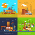 Industrial Factories And Plants Flat Set Stock Photos - 60769593