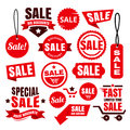 Red Discount Sale Tags, Badges And Ribbons Royalty Free Stock Photography - 60781647