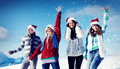 Friends Enjoyment Winter Holiday Christmas Concept Royalty Free Stock Image - 60800406