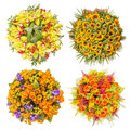 Top View Of Four Colorful Flower Bouquets Stock Photography - 60801242