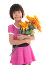 Little Asian Girl Flower Royalty Free Stock Images - 60835209