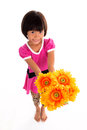 Little Asian Girl Flower Stock Images - 60837934