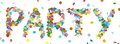 Abstract Confetti Word - PARTY Letter - Colorful Panorama Vector Royalty Free Stock Image - 60839616