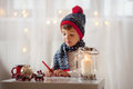 Adorable Little Boy, Writing Letter To Santa Stock Image - 60841051