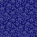 Navy Blue And White Doggy Tile Pattern Repeat Background Royalty Free Stock Image - 60844626