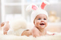 Smiling Baby In Rabbit Costume Royalty Free Stock Image - 60847756