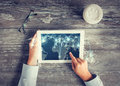 Close Up Of Hands With Tablet Pc And Network Stock Image - 60857231