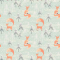 Seamless Pattern With Fox In Winter Forest Royalty Free Stock Photo - 60862335