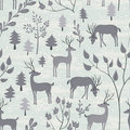Seamless Pattern With Deer In Winter Forest Stock Images - 60862904