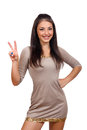 Woman Showing Two Fingers Or Victory Gesture Stock Photos - 60863613