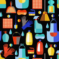 Cleaning Products Seamless Pattern. Royalty Free Stock Photo - 60876095
