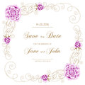 Vintage Wedding Invitation With Roses Stock Images - 60894734