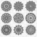 Set Of Abstract Design Element. Round Mandalas In Vector. Graphic Template For Your Design. Decorative Retro Ornament. Hand Drawn Royalty Free Stock Image - 60907856