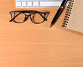 Close Up Reading Eye Glasses On Businessman Wooden Table With Ot Royalty Free Stock Image - 60915326