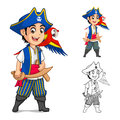 Kid Pirate Holding Wooden Sword With Scarlet Mawaw Bird Cartoon Character Royalty Free Stock Photo - 60920005