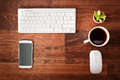 Neat Workstation On A Wooden Desk Stock Photo - 60920150