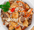 Barley Porridge With, Meat, Mushrooms And Carrots Stock Image - 60932041