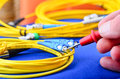 Engineer Testing Fiber Optic Cables. Royalty Free Stock Image - 60934686