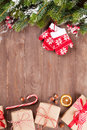 Christmas Background With Fir Tree And Gift Boxes Stock Images - 60935014