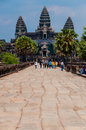 Path To Angkor Wat With People Royalty Free Stock Photography - 60941487