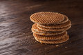 Waffles With Caramel On Wood Royalty Free Stock Images - 60968379