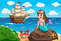 Little Mermaid Watching Vessel Stock Images - 60984654