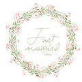Frame Border, Wreath Of  Tender Pink Flowers And Branches With Green Leaves Painted In Watercolor  On A White Background, Greeting Royalty Free Stock Photos - 61004548