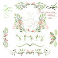 Set With Frame Borders, Floral Decorative Ornaments With Watercolor Flowers, Leaves And Branches For Wedding Stock Images - 61006554
