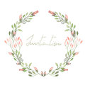 Frame Border, Wreath Of  Tender Pink Flowers And Branches With Green Leaves Painted In Watercolor  On A White Background Royalty Free Stock Photos - 61007038