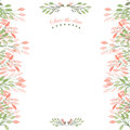 Frame Border, Floral Decorative Ornament With Watercolor Flowers, Leaves And Branches For Wedding Royalty Free Stock Photography - 61007217
