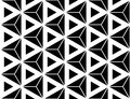 Vector Modern Seamless Sacred Geometry Pattern Hexagon Triangles, Black And White Abstract Stock Photography - 61027002