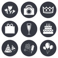 Party Celebration, Birthday Icons. Fireworks Royalty Free Stock Images - 61033279